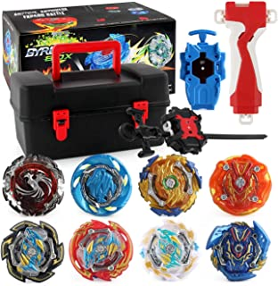 8 Pieces Battle Burst Gyros Toys Set,Alloy Gyro Assembly Gyro Set Two-Way Handle Launcher, Birthday Party Gifts Idea Toys ...