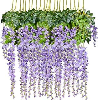 Artiflr 8pcs Artificial Flowers Silk Wisteria Vine Ratta Silk Hanging Flower Wedding Decor (Purple)