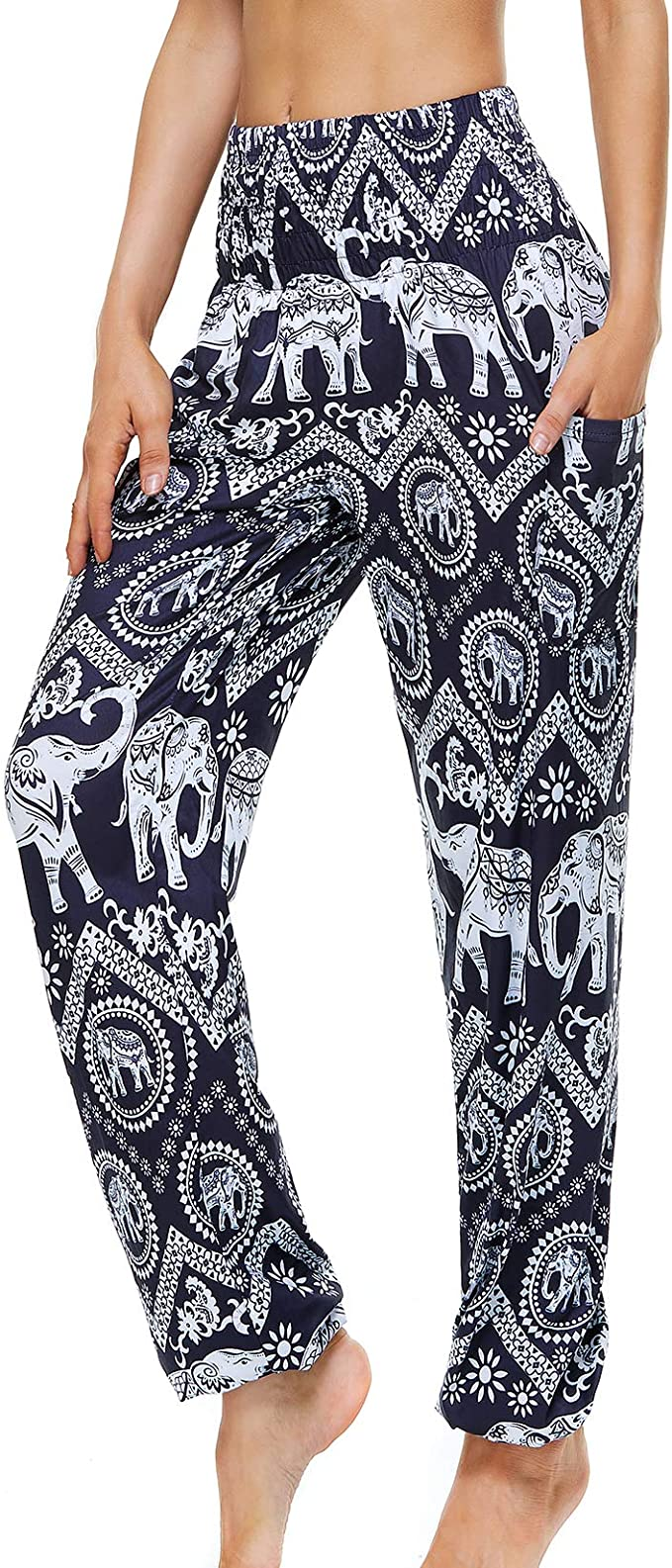 Lu's Chic Women's Harem Boho Pants Genie Hippie Yoga Pants Cotton Bohemian Smocked Waist Loose