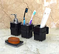 Wall Mounted Premium Quality Bathroom Accessories Set By Wigano. The Product Which Include Liquid Soap Dispenser With Chrome Polish High Quality Pump With Brush holder,Toothpaste Holder And Soap Dish Holder Set Ideal For Room Bathroom, Luxury Hotel Bathroom By-Wigano