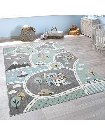 Gris Dimension:80x150 cm Tapis pour Enfants avec Motif Dicton Et /Étoiles Tissage Plat pour Chambre denfant