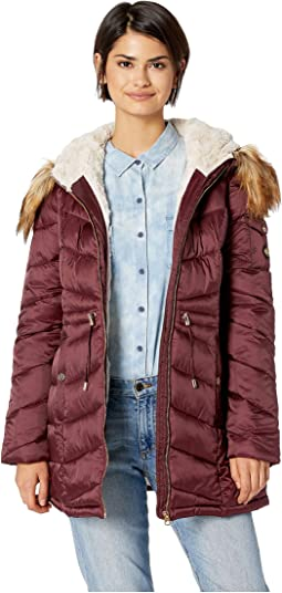 Cinched Waist Hooded Puffer with Arm Pocket