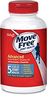 Move Free Vitamin D3, MSM, Glucosamine and Chondroitin - Advanced Joint Support Tablets (120 count in a box), For Joint and Bone Health, Supports Mobility Flexibility Strength Lubrication and Comfort