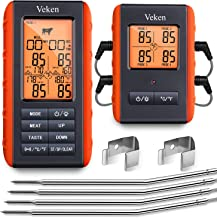 Veken Meat Thermometer for Grilling, BBQ Wireless 4 Probe Remote, Instant Read Digital Cooking Grill Thermometer, Food Thermometer for Oven & Smoker & Roasting, 490 Feet