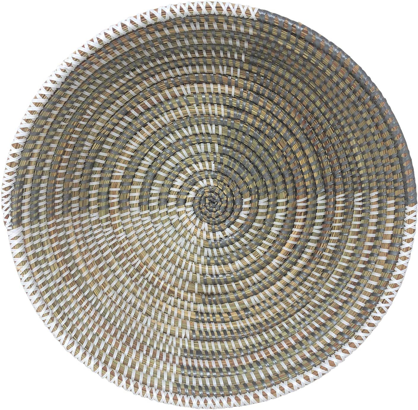 African Fair Trade Delta Handwoven Table Limited time cheap sale Round Basket Silver Wh San Jose Mall