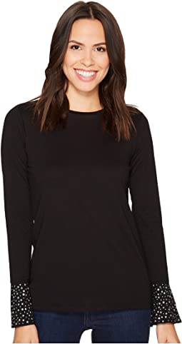 Flare Cuff Long Sleeve Stud Top