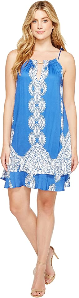 Summer League Rayon Stretch Woven Tie Dress