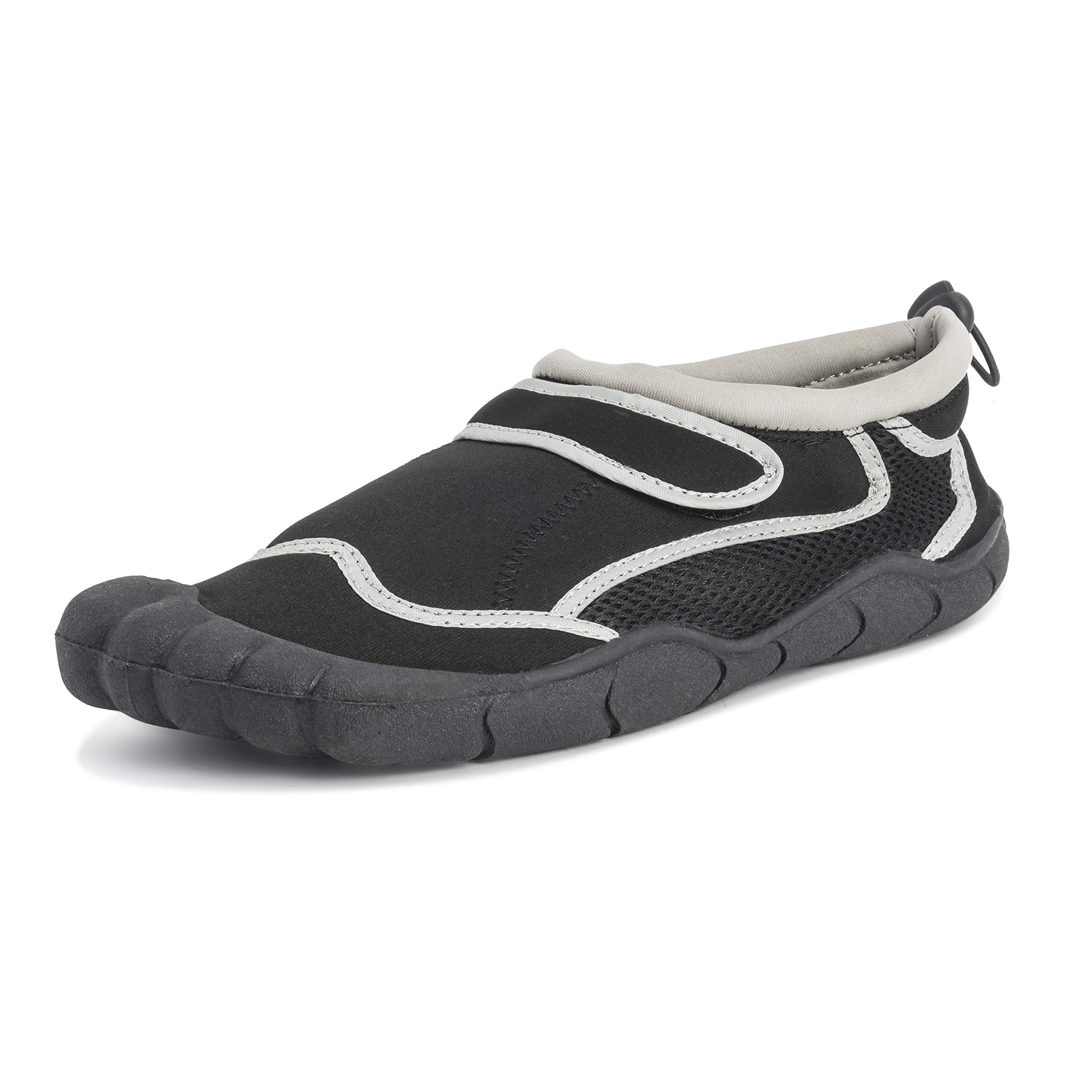 UK 10 // EU 44, Grey with Black Trim Wetsuit Shoes Nalu Hook and Loop Aqua Surf//Beach