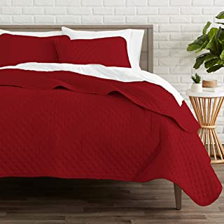 Bare Home Premium 3 Piece Coverlet Set - Full/Queen Size - Diamond Stitched - Ultra-Soft Luxurious Lightweight All Season Bedspread (Full/Queen, Red)