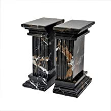MarbleCrafter Black and Gold Fluted Column Bookends