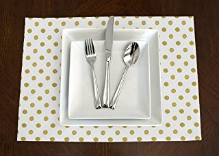 A LuxeHome White and Metallic Gold Modern Contemporary Polka Dot Placemat Topper Table Mat Set of 4