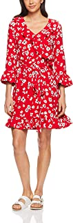 French Connection Women's Daisy Wrap Dress, Red/Multi