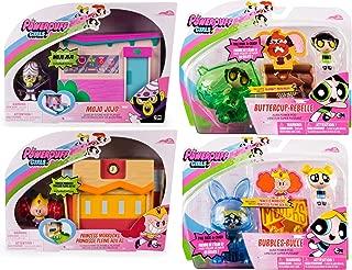 Powerpuff Girls Power 4 Girls Pack Mega Action Playset Figures Mojo JoJo Jewelry Store Heist / Princess Morbucks Schoolyard Scramble / Aura pod Bubbles & Buttercup Townsville Set