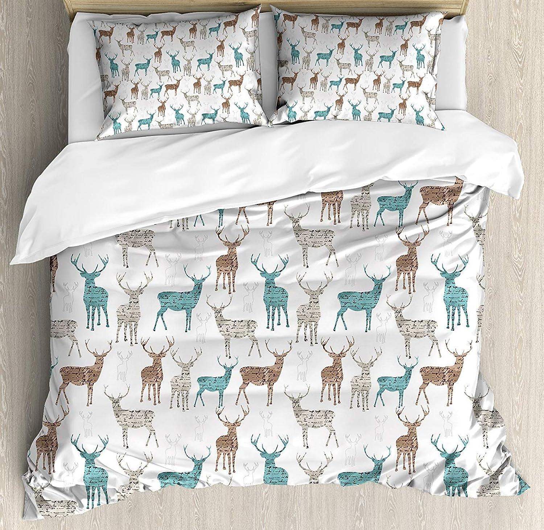 Deer Duvet Cover Set Queen Size, Animals Old Text Pattern Christmas Theme Vintage Inspired Illustration,Lightweight Microfiber Duvet Cover Sets, Turquoise Brown Beige