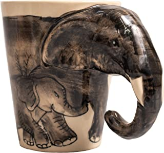 Holder mug coffee tea cup elephant cute chubby shaped mother and son from white ceramic for women gifts cups travel funny animal can recycling and personalized beautiful kitchen fun teapot (Black)