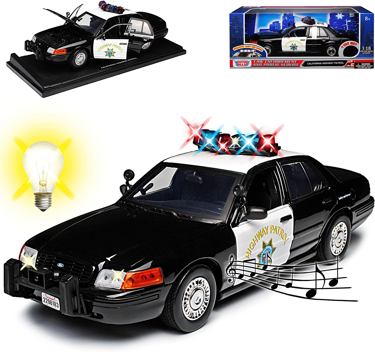 Motormax Ford Crown Victoria California Highway Patrol Police Police With Light And Sound 1 18 Model Car With Or Without Indivious Number Plate Spielzeug