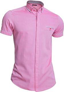 D&R Fashion Mondo Mens Short Sleeve Shirt Cotton Slim Fit Button-Down Collar Pocket