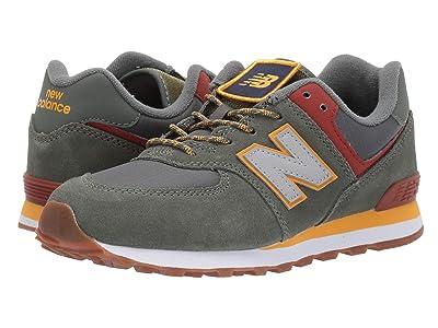 New Balance Kids Camp 574 (Big Kid) (Slate Green/Red Jasper) Boys Shoes