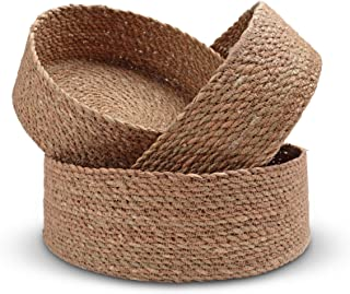 Woven Round Seagrass Basket Set - 3 Decorative Storage Baskets for Organizing and Storage – Sustainable, Eco-Friendly Nesting Baskets with Cotton Dust Bag for Coastal and Beach Decor
