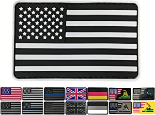 3.15x1.97 inch American Flag Patch Black and White USA Patches PVC Rubber Patch 3D Pride Moral Patch Clothes Patch Backside Tactical Patches Patch for Military Uniform, Tactical bag, Jacket, Team, Bac