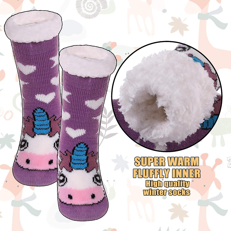 AOXION Kids Boys Girls Christmas Cute Animal Fuzzy Slipper Socks Children Soft Thick Warm Fleece Lined Non-Skid Winter Socks