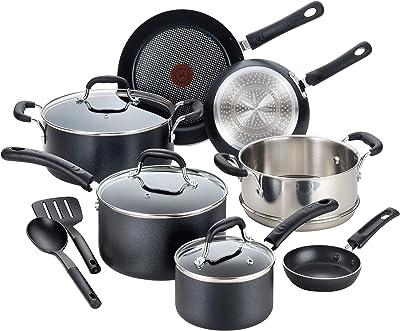 T-fal Professional Nonstick Cookware Dishwasher Safe Pots and Pans Set, Induction Base, Black