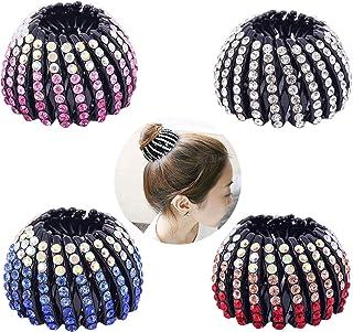 PHAETON 4Pack Ponytail Holder Hair Accessory Expandable Rhinestone Bird Nest Hair Clip For women Girls
