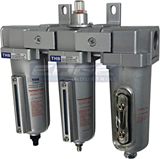 """3 STAGE, 1/2"""" NPT, INDUSTRIAL GRADE IN-LINE COALESCING FILTER & DESICCANT AIR DRYER COMBINATION WITH METAL BOWLS FOR SPRAY GUN EQUIPMENT PAINT BOOTH COMPRESSOR, PLASMA CUTTER (With Auto Drain)"""