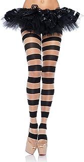 Leg Avenue Damen Striped Strumpfhose, schwarz, One Size