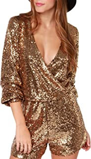 Haoduoyi Women's Solid Color Long Sleeve V-neck Shiny Sequined Party Jumpsuit