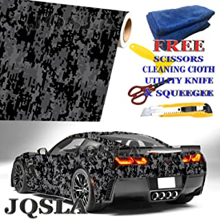 JQSLA Digital Black Gray Camouflage Premium Vinyl Car Wrap Decal Film Sheet Air Channel Release Technology + Free Tool Kit (96