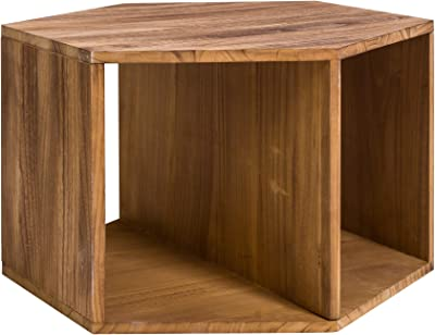 Rebecca Mobili Table de Salon Table Basse Hexagonale Bois Marron Clair Moderne Salon Chambre (Cod. RE4583)