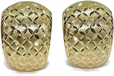 Boucles d'oreilles pour femme en or jaune 18 carats mat et brillant avec fermoir oméga. 4,45 g d'or 18 ct.