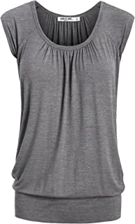Lock and Love LL Womens Short Sleeve Solid/Dip-Dye Ombre Sweetheart Top - Made in USA