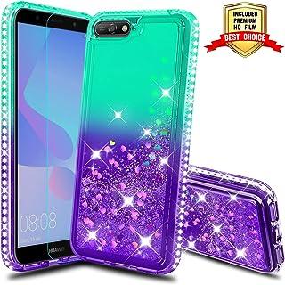 3fa8b781fd1 Atump Funda Huawei Y6 2018, Huawei Y6 2018 Glitter Fundas Líquido Silicona  TPU Antichoque Fundas