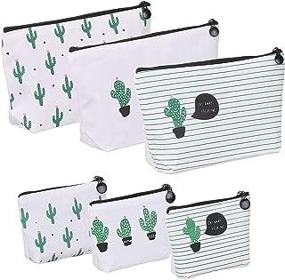 Elisel 6 Pack Cactus Design Canvas Pen Case Pencil Bag,Pencil Pouch Travelling Cosmetic Bags Coins Bag Storage Bag Cute Pencil case(Large Capacit)