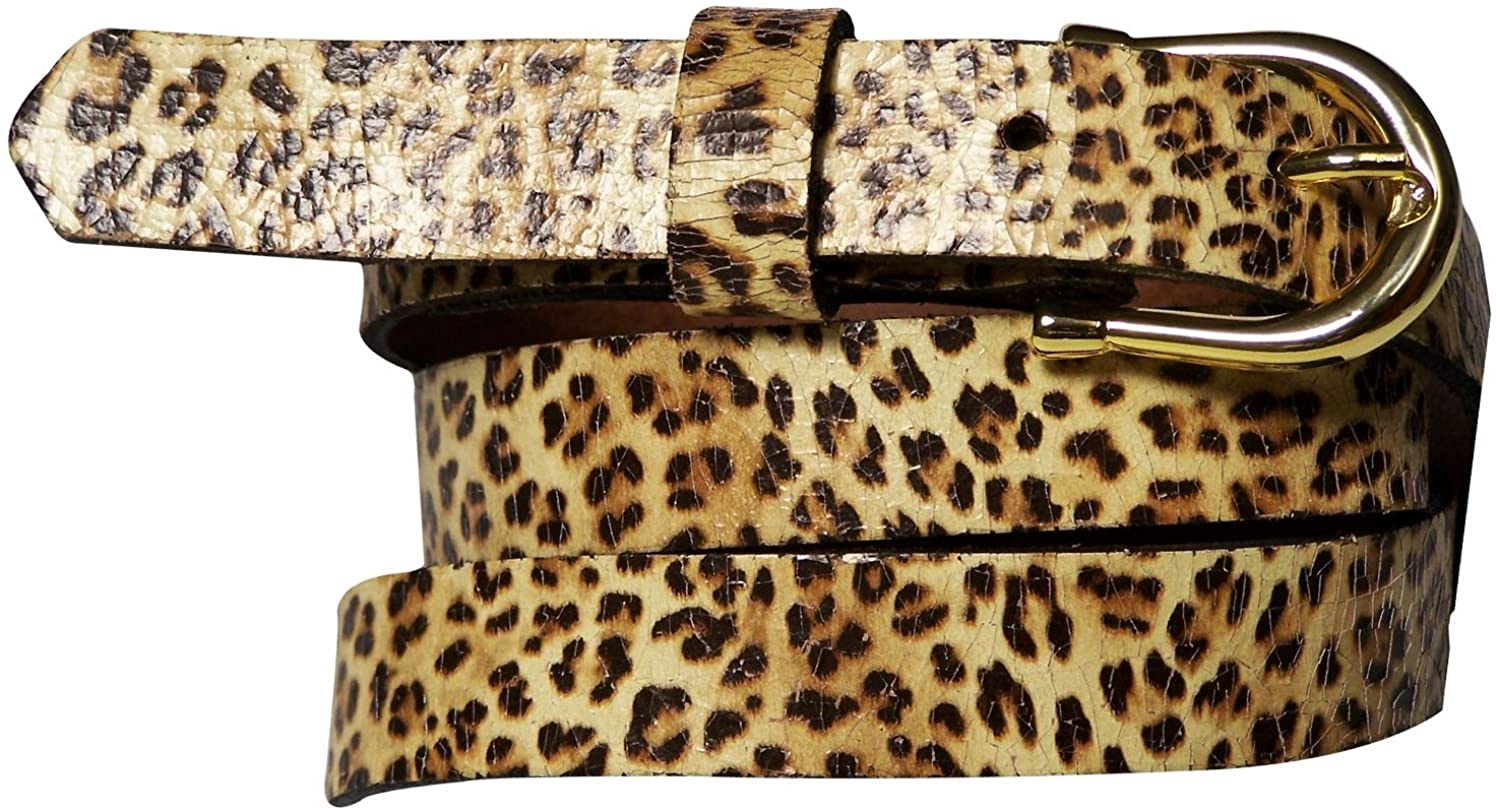 FRONHOFER Skinny leo women's belt, leo print, leopard belt, gold buckle, leather