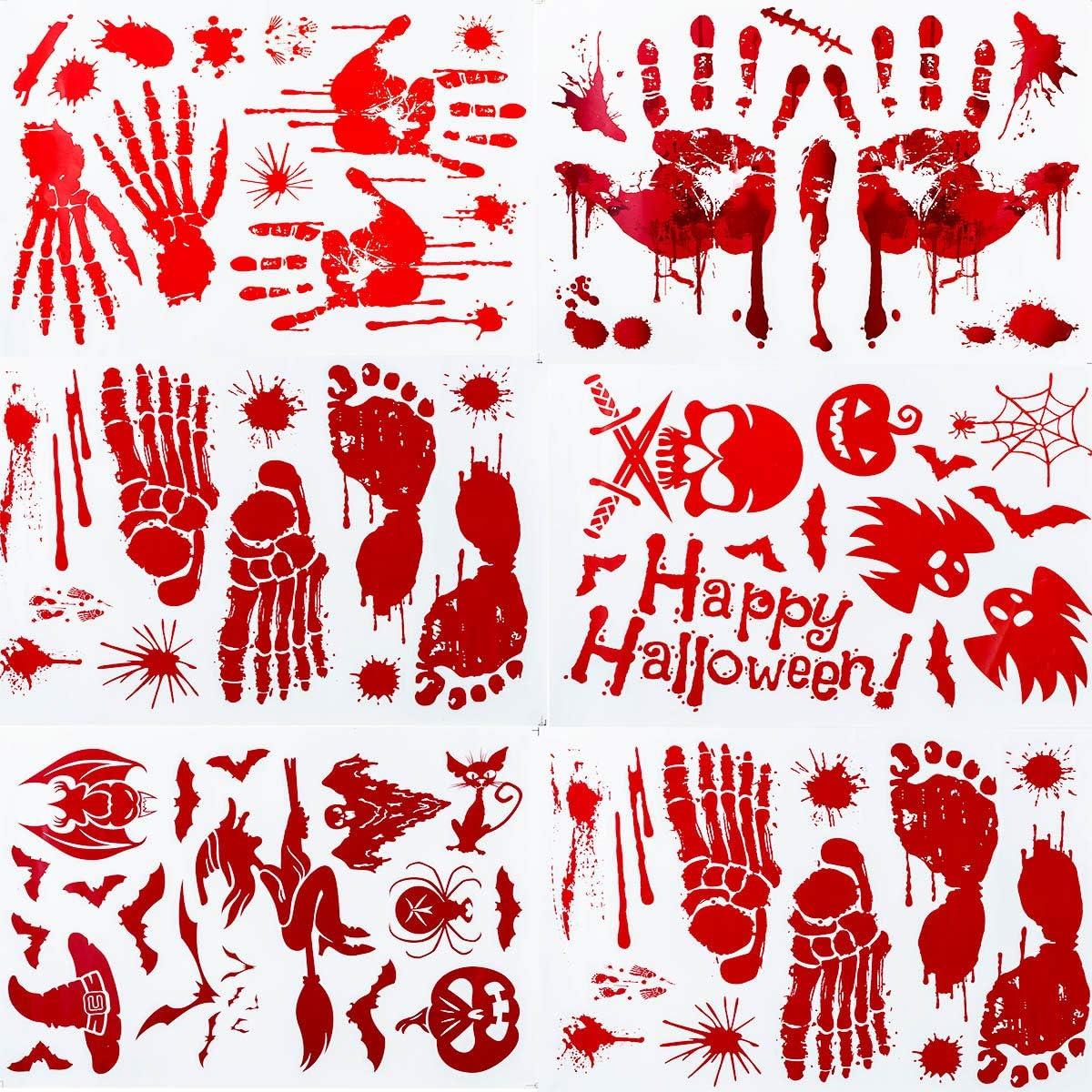 WUJO Halloween Decorations Max 50% OFF Stickers Bloody Footprint Attention brand Handprint