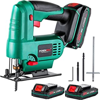Sponsored Ad – Cordless Jigsaw, POSENPRO 20V Jig Saw Tool with 2x2000mAh Batteries, 1H Fast Charger, 0-2,400SPM Speed, ±4...
