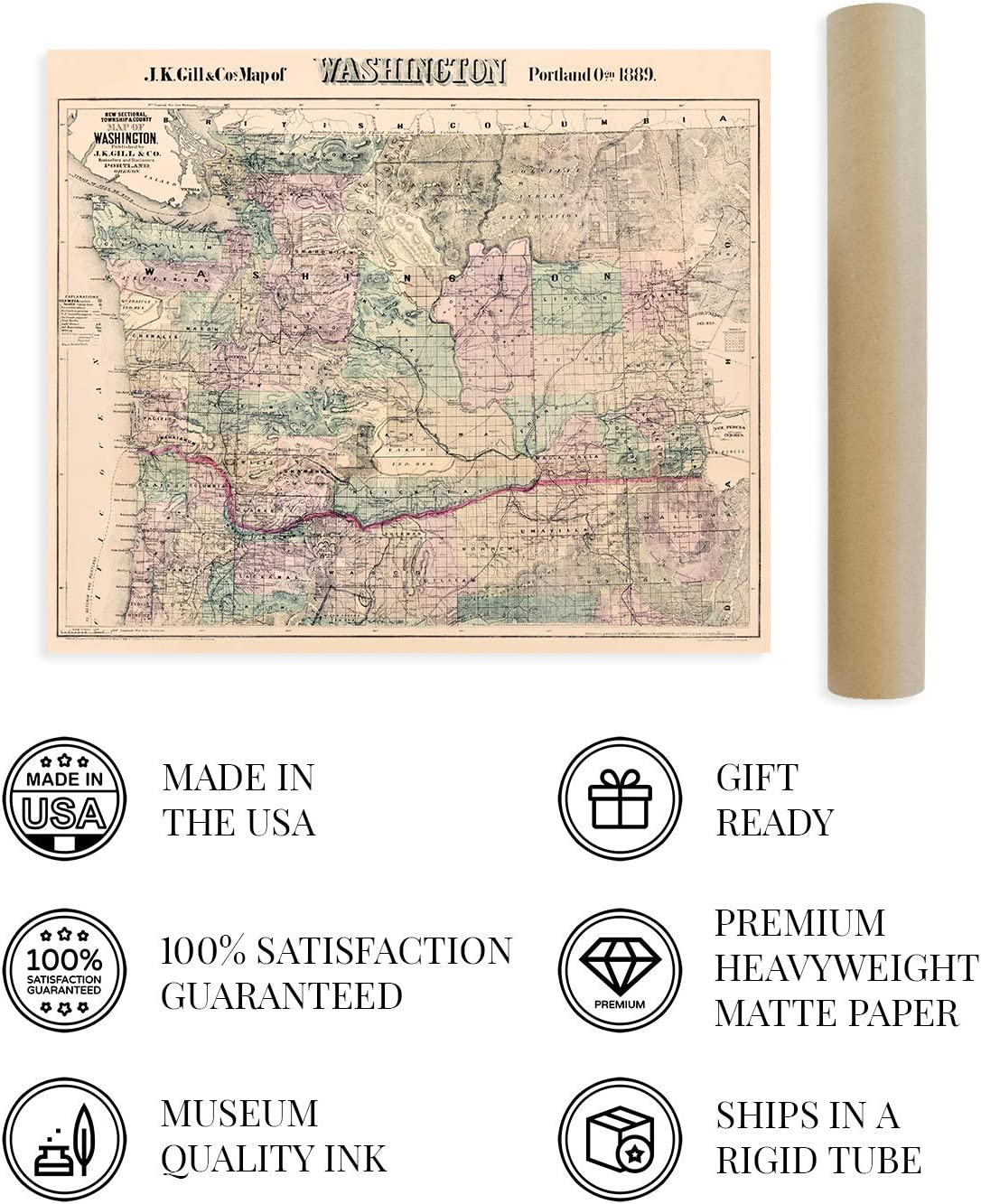 Buy Historix Vintage 20 Washington State Map   20x20 Inch ...