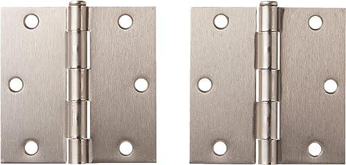 Global Door Controls 3.5 in. x 3.5 in. Satin Nickel Plain Bearing Steel Hinge - Set of 2