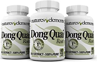 Natures Elements Dong Quai Extract - Pack of 3-180 Veggie Caps - Standardized 10:1 Extract - 1% Ligustilide...