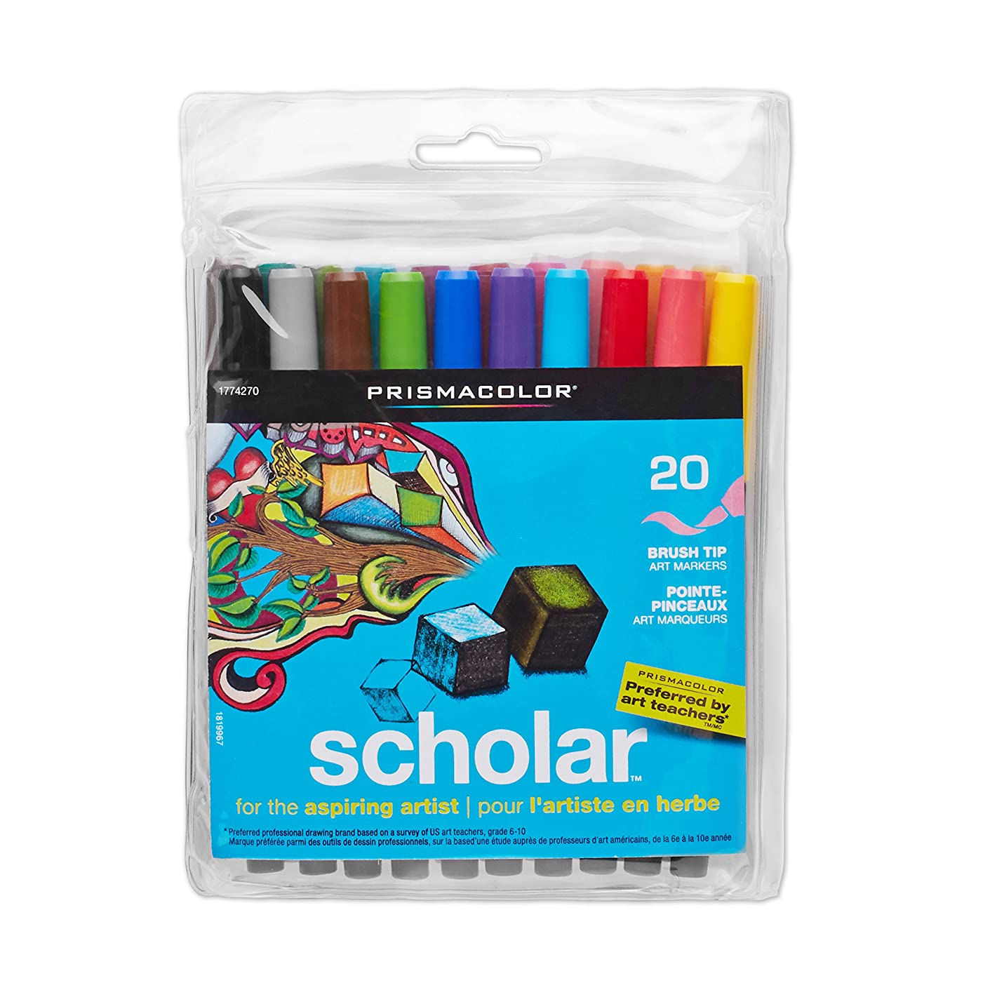 Prismacolor 1774270 Scholar Art Markers, Brush Tip, Assorted, 20-Count