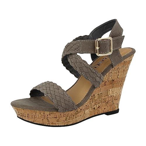 e8a8680c631bfe Ladies Plait Espadrille Open Toe Cork Effect Fashion High Wedge Heel Summer  Sandals Size 3-