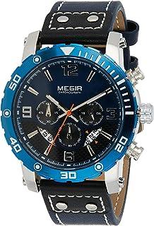 ساعة كوارتز للرجال من ميجر بشاشة عرض كرونوغراف وسوار من الجلد - طراز 2084G