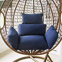 Large Seat Cushion,Hanging Egg Hammock Swing Chair Pads, High Back Chair Cushion with 2 String Ties Soft Chair Back Solid ...