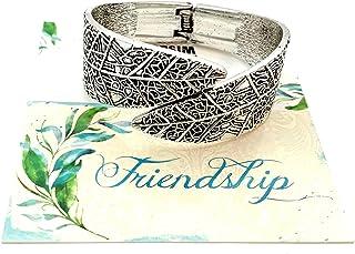 Smiling Wisdom - Leaf Statement Bracelet Friendship Gift Set - Reason Season Lifetime Friendship Greeting Card - Unique Gift Set For Her, Good or Best Friend - Antiqued Silver
