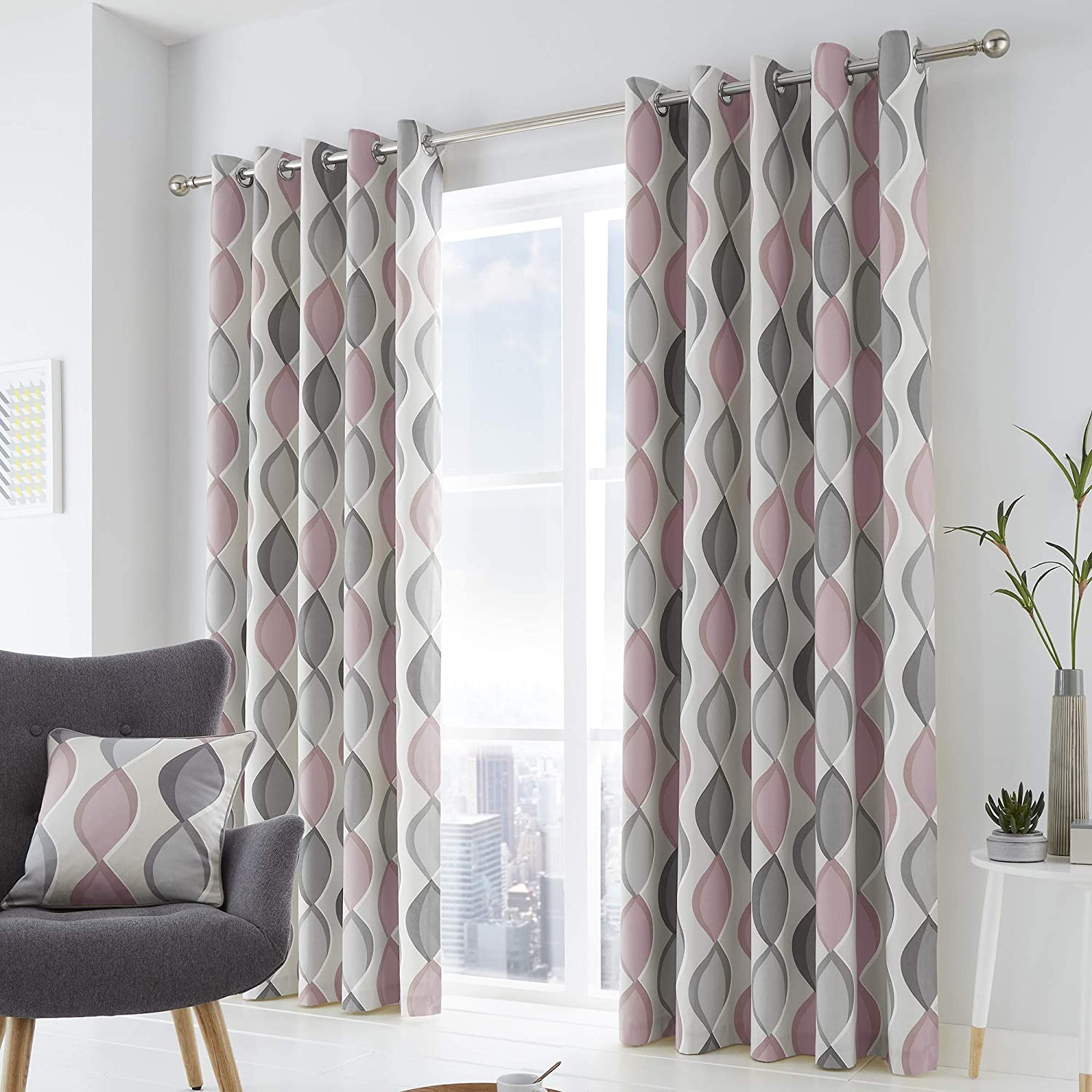 """Fusion Lennox 100% Cotton Eyelet Lined Curtains, Grey/Blush, 66 x 90 Inch, w168cm (66"""") x d229cm (90"""") w168cm (66"""") x d229cm (90"""") Grey / Blush"""