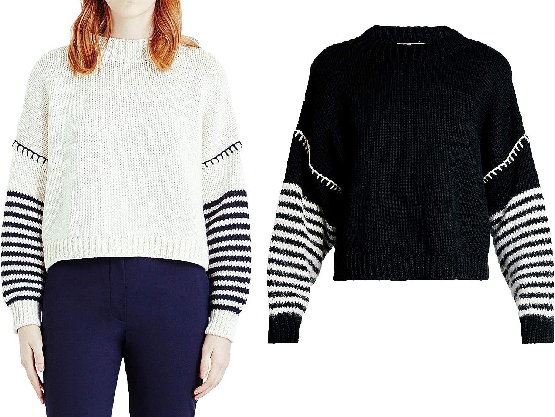 YISHI Black and White Stripes Lantern Knitted Sweater F732
