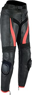 MENS MOTORCYCLE ARMORED HIGH PROTECTION LEATHER(FULL GAIN) PANTS BLACK AND RED TR-79 (38) INSEAM 32